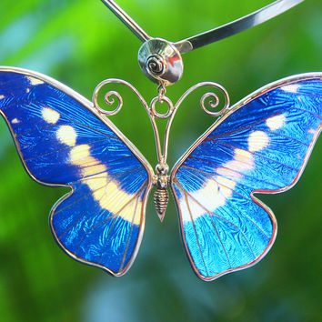 Love Butterfly Blue Ocean, Handmade with natural butterfly wings big pendant