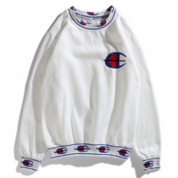 Champion Fashion New Bust Embroidery Logo String Mark Print Women Men Hooded Long Sleeve Sweater White