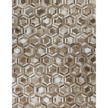 Bashian Rugs Parquet Cowhide Hand-Stitched Rug - Camel