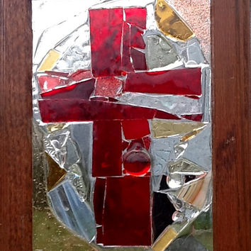 Stained Glass Mosaic Red Cross Window Art Sun Catcher OOAK Handcrafted