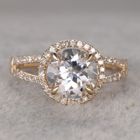2.3ct Round White Topaz Engagement Ring Diamond Wedding Ring 14K Yellow Gold Split Shank Style