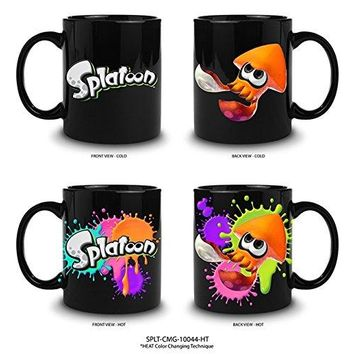 16oz OFFICIAL Splatoon Heat Changing Black Ceramic Coffee Mug with Splatoon character Novelty GIFT