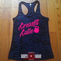 Crossfit Cutie Workout Tank - Kettlebell Gym Apparel Burnout Racerback Tanks Working Out Lifting Women's