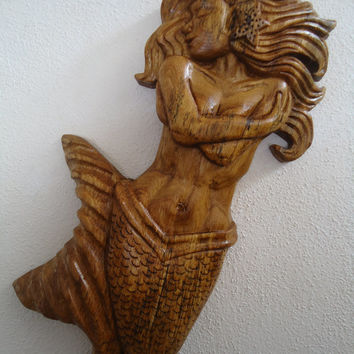 Hand carved wood Mermaid - Mermaid sculpture - Wall decor - Mermaid artwork - Wood sculpture - Wood artwork - Home decor - Beach house decor