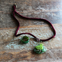 green bird nest on spring branch- pendant / woodland songs - unique sea glass- gemstone jewelry/ art to wear
