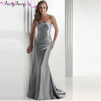 Mermaid Burgundy Silver long Prom Dresses Silver Cheap Taffeta Beading Evening Party Gowns 2017 Vestidos De Free Shipping SSX06