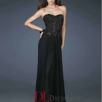 A-Line Sweetheart Chiffon Black Long Prom Dress/Evening Gowns With Appliques VTC048