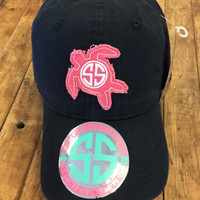 *Simply Southern Hat Pink Turtle Logo Navy Hat