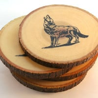 Handmade Wooden Howling Wolf Coasters - Hand Stamped with a Howling Wof - Rustic Reclaimed Wood - Drink Coasters - Waterproof - Set of 4