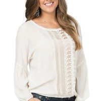 Wrangler Women's Off White with Crochet Panel Inset Long Sleeve Top
