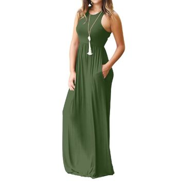 Femme Boho Long Dress Summer Women Maxi Dress 2018 Women Sexy Sleeveless Tank Dresses Summer Casual Pocket Beach Sundress GV596