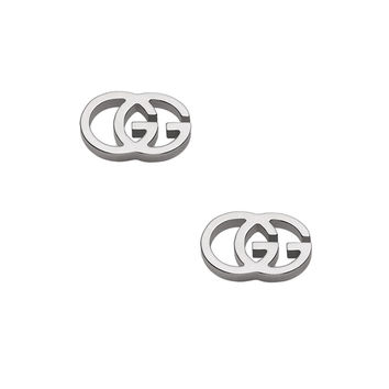 Gucci Running G Stud Earrings in 18KT White Gold | FWRD