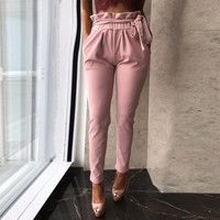 New Women's Fashion Solid Casual Summer Pants Elastic High Waist OL Ladies Office Wear Long Trousers Skinny Harem Pants 7 Colors