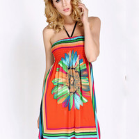 Floral Halter Backless Bohemian Pleated A-line Mini Dress