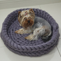 Chunky Dog Bed, Cat Bed, Pet Bed, Cat Nest, Cat House, Pet furniture, Dog basket, Chunky Dog Bed, Extreme Knitting, Pet Bedding, Merino Wool