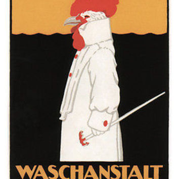 Vintage AD POSTER for a laundry robert HARDMEIER switzerland 1905 24X36