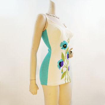 Swimsuit 60s Vintage DeWeese Flower Applique by voguevintage