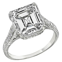 4.21 Carat Emerald Cut Diamond Engagement Ring