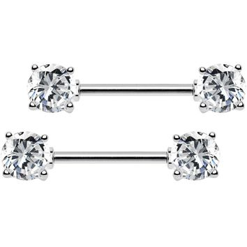 "14 Gauge 9/16"" Clear CZ Gem Barbell Nipple Ring Set"