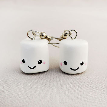 Kawaii Smiling White Marshmallow Earrings Polymer Clay Jewelry
