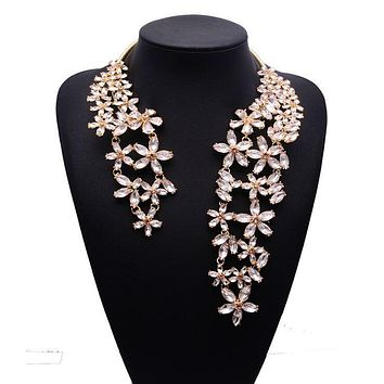 2017 Spring Summer New Hot Fashion Jewelry Chunky Gem Crystal Flower Choker Necklace Single Shoulder Statement Necklace XG587