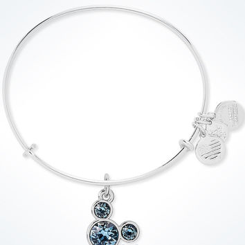 Disney Mickey Mouse Birthstone Bangle by Alex and Ani March Silver Finish New