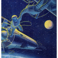The Docking of Spacecraft (Artist A. Sokolov) Vintage Postcard - Printed in the USSR, «Soviet Artist», Moscow, 1966