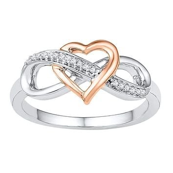 10kt White Gold Women's Round Diamond Rose-tone Heart Infinity Ring 1/20 Cttw - FREE Shipping (US/CAN)