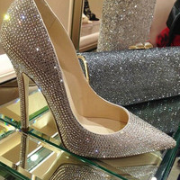 Fashion pointed toe bridal shoes rhinestone high-heeled shoes single shoes diamond thin heels wedding shoes Party Prom Shoes