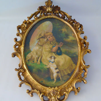 Ornate Wall Decor Large Syroco Framed Print Victorian Girl w Parasol Cat & Dogs , Open Mirror Frame , DIY Repurpose Project
