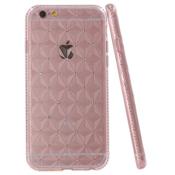 iPhone 6S Plus Case, iYCK [3D Prism] Soft Flexible TPU Rubber Crystal Clear [Studded Full Frame and Back] Diamond Bling Rhinestone Protective Back Case Cover for iPhone 6/6S Plus 5.5 inch - Rose Gold