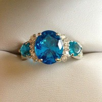 Blue Gemstone Ring on Silver Band from GemEnvy