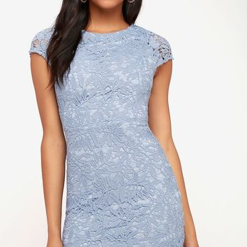 Right Sheer, Right Now Periwinkle Blue Lace Bodycon Dress