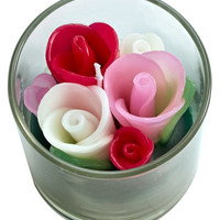 Blooming Rose Buds Candle in Glass Jar