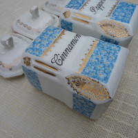 Pretty Spice Jars Blue & White Porcelain / China Kitchen Canisters Kitchen Decor Made in Czechoslovakia