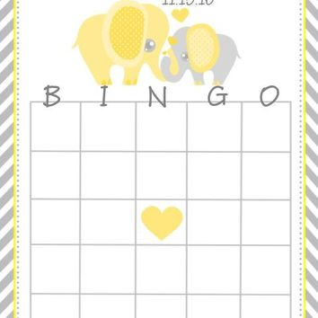 10 Yellow Elephant Baby Shower Bingo Cards
