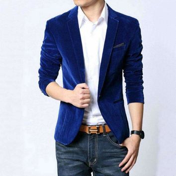 2018 New Fashion Mens Autunm Winter Casual Slim Fit Blazers and Jackets Male Business Suit Black Navy Blue Velvet Coats