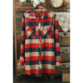 Plaid Preppy Style Flap Pockets Boyfriend Shirt