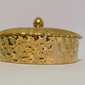 Dixon Art Studios Weeping Bright Gold Candy Dish 22K