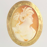 Large Antique Shell Cameo Brooch - 10K Yellow Gold Pin Carved Vintage Elegant Edwardian