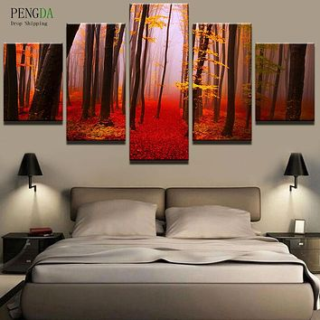 PENGDA Wall Art Canvas Painting Style Wall Pictures For Living Room Frames 5 Panel Tree Landscape Moder Decoration Paintings