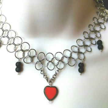 Chainmaille Set / Heart Necklace / Czech Glass Necklace and Earring Set / Chain Mail Jewelry Set / Sea Glass Necklace