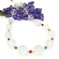 Frosted White Quartz Handmade Necklace, Multi Colored Czech Glass Spring Summer Jewelry