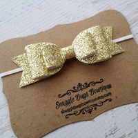Large Double Layer Glitter  Bow Headband in Gold   - Newborn Baby to Adult - Hair Bows