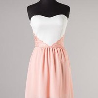 Romantic Dream Sweetheart High Low Dress with Lace Applique in Soft Pink | Sincerely Sweet Boutique