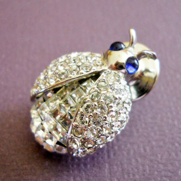 CZ Vintage Pin Lady Bug with Blue Eyes and Silver Tone