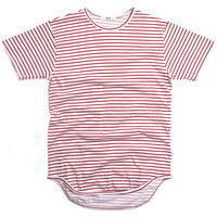 Stripe Original Long T-Shirt White / Burgundy
