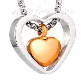 "Cremation ""Heart Within Heart"" Urn Necklace Pendant"