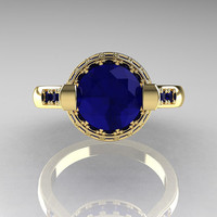 Italian Bridal 18K Yellow Gold 1.5 Carat Blue Sapphire Wedding Ring AR119-18YGBSS
