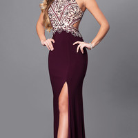 Long Prom Dress with High Neck Beaded Bodice